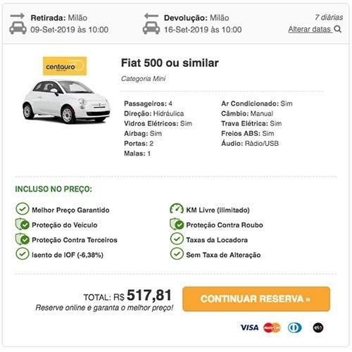 Preço do aluguel de carro na Itália - Milão © RentCars