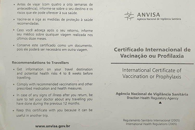 Certificado Internacional de Vacinação ou Profilaxia é um documento internacional emitido pela Anvisa.